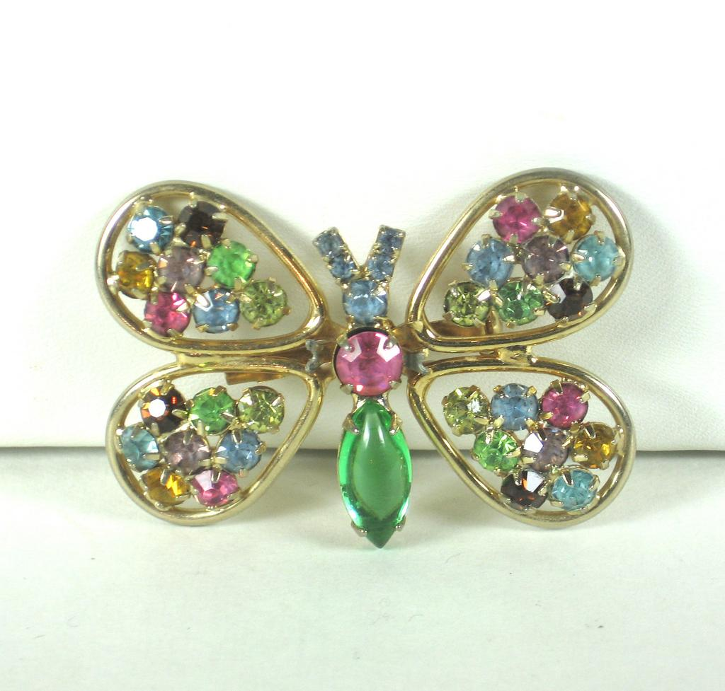 Judy Lee Multicolored Rhinestone Butterfly Pin