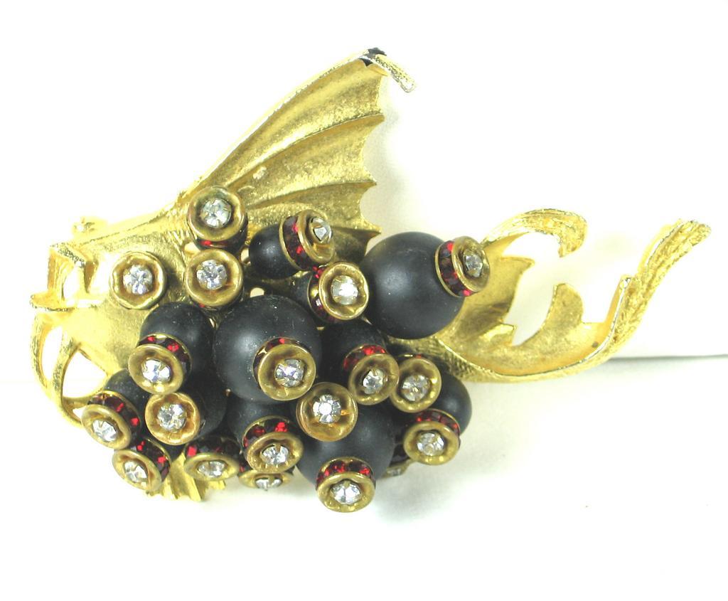 Vintage Hattie Carnegie Black Glass Bead Fish Pin