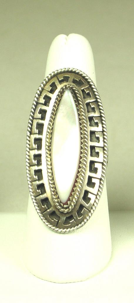 Sterling Silver Native American Mother Of Pearl Cabochon Ring