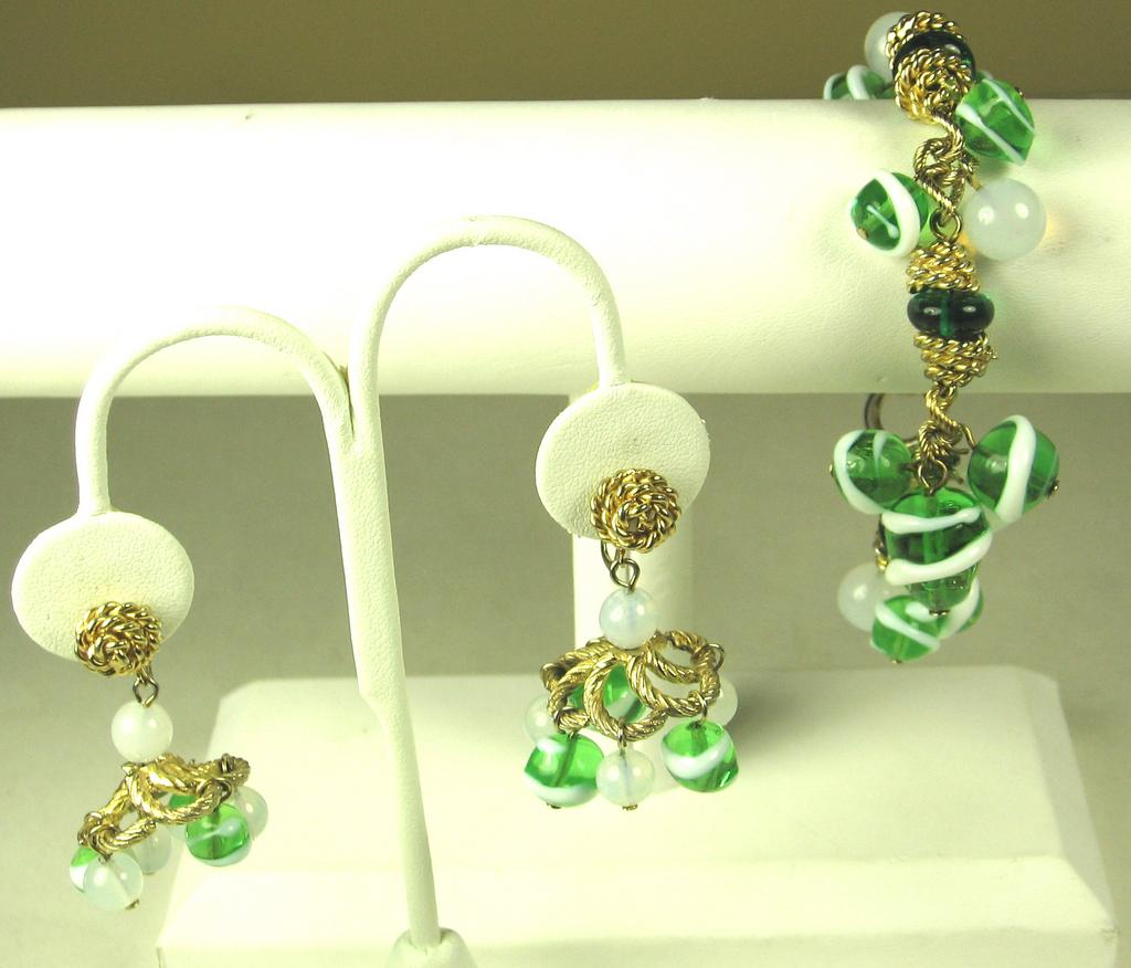 Hattie Carnegie Green Glass Beaded Bracelet and Earrings