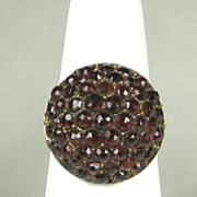 Vintage Deep Red Bohemian Garnet Cluster Ring