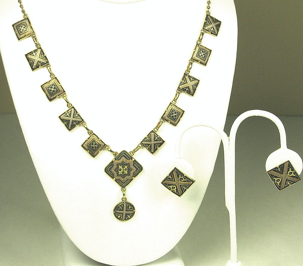 Vintage 1/20 12kt Gold Plated Geometric Necklace and Earrings