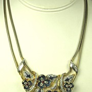 Mazer Brothers Enamel and Rhinestone Dripping Flowers Necklace