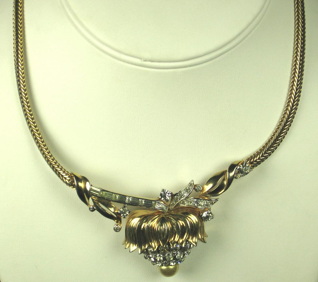 Mazer Brothers Rhinestone and Imitation Pearl Necklace