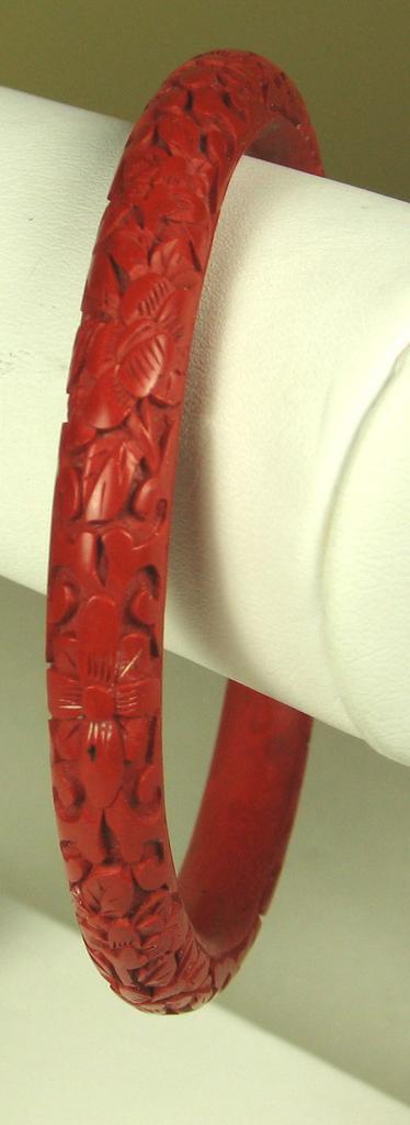 Vintage Carved Floral Motif Cinnabar Bracelet
