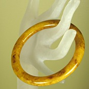 Marbled Brown and Apricot Bakelite Bangle Bracelet-NR