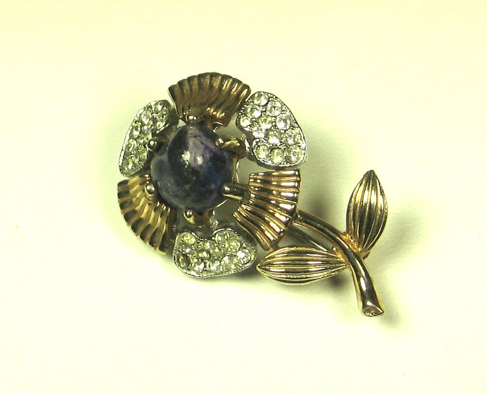Marvella Purple Agate Flower Pin