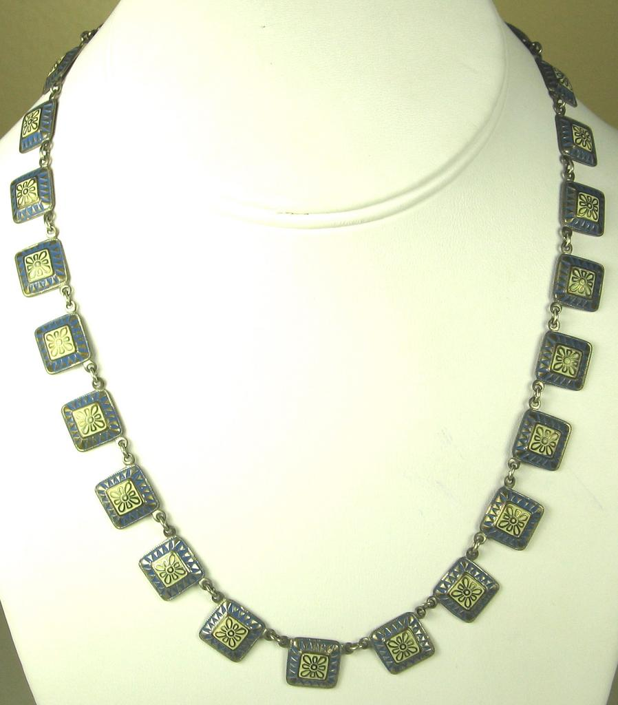 Vintage Gold Tone Metal and Enamel Germany Necklace