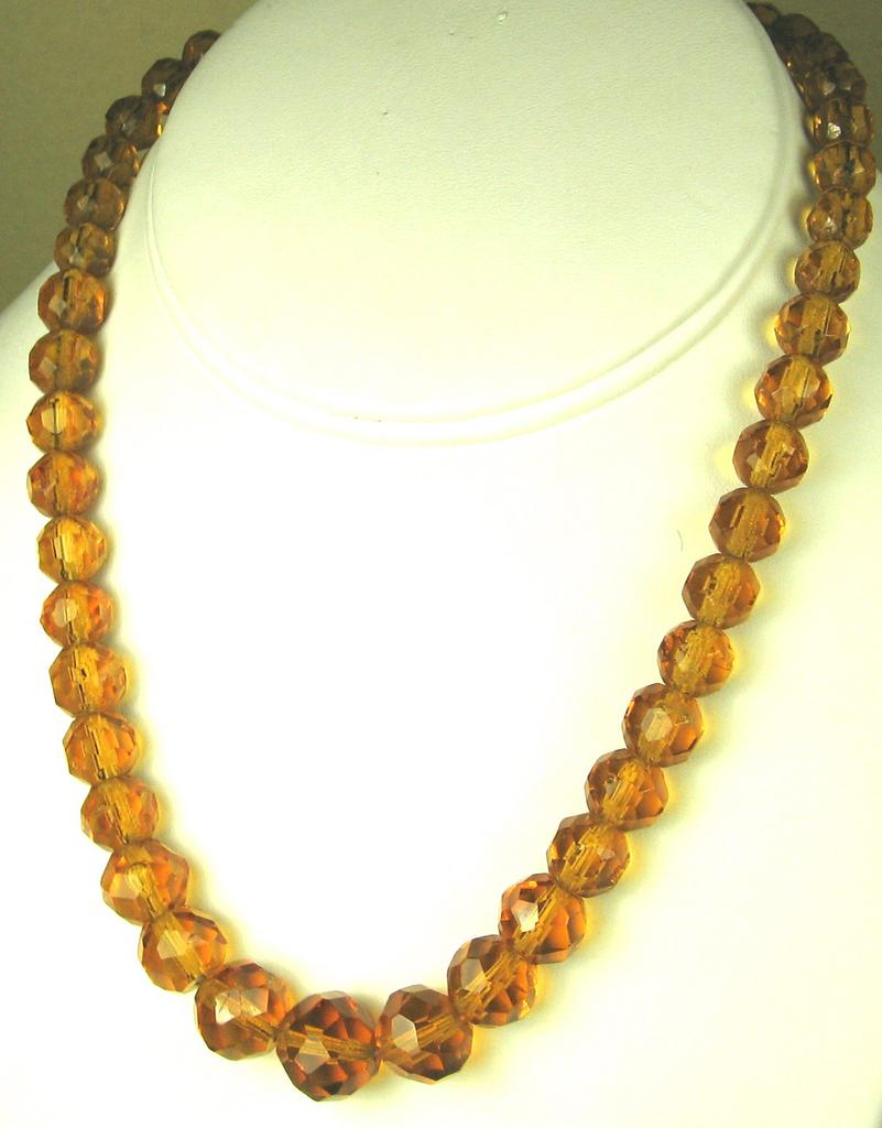 Vintage Faceted Amber Glass Beaded Necklace