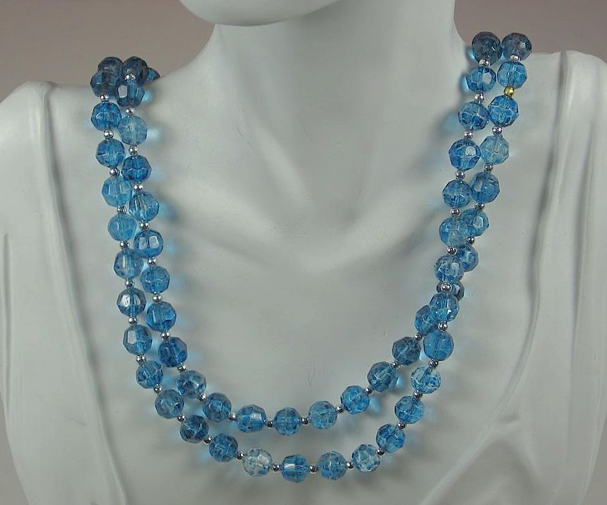 West Germany Two Strand Sapphire Glass Bead Necklace