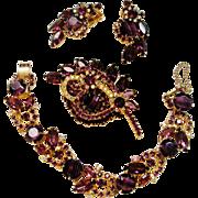 Verified D&E Juliana Slag Glass Purple Rhinestone Parure