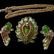 Verified D&E Juliana Slag Glass Brooch/Pendant  with Earrings & Chain