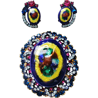 Verified D&E Juliana Peacock Eye Enameled  Limoges  Brooch & Earrings