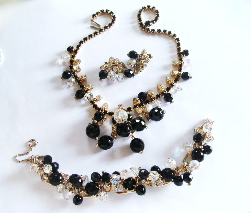D&E Juliana Black & Clear Rhinestone Cha-Cha Parure