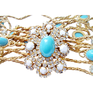 Verified D&E Juliana Faux Turquoise & White Rhinestone Belt