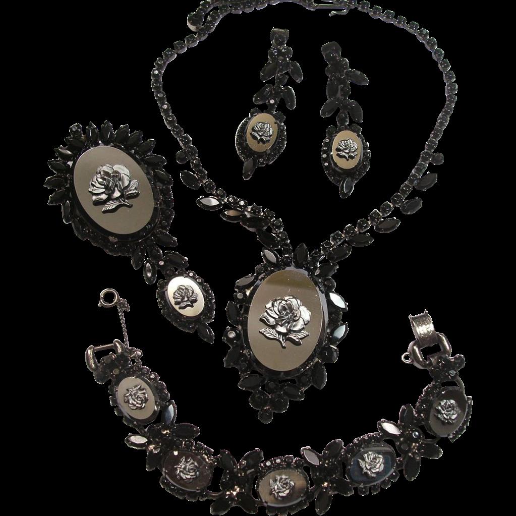 Verified D&E Juliana Black Rose & Faux Hematite Glass Parure