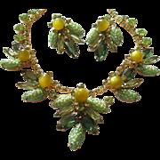 Verified D&E Juliana Peridot Pebbled Necklace & Earrings