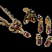 Verified D&E Juliana Watermelon Rhinestone Brooch, Necklace and Earrings
