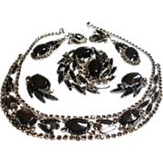 Verified D&E Juliana 5 Piece Hematite Rhinestone Parure