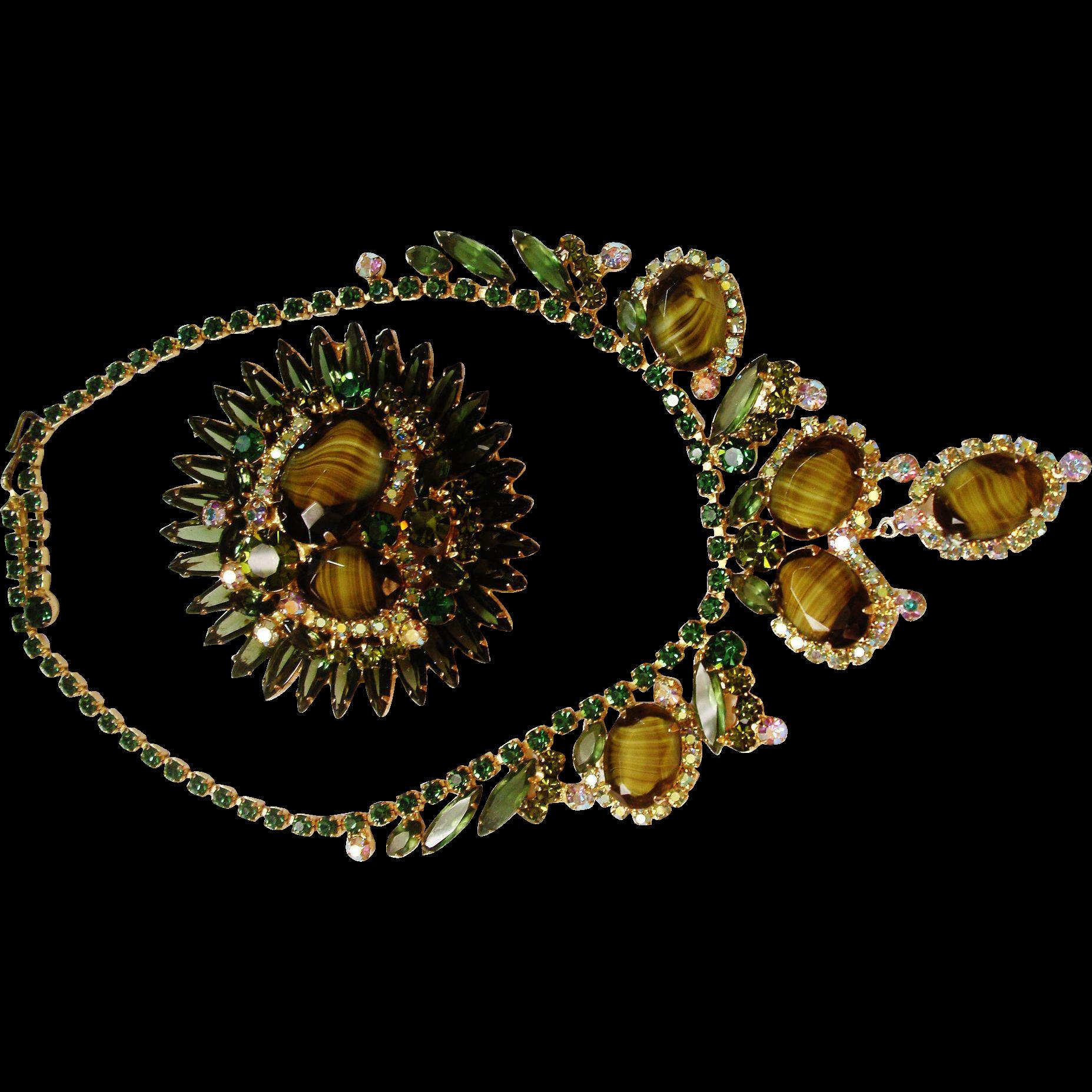 Verified D&E Juliana Green Slag Glass Necklace & Brooch