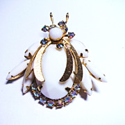 Verified White Rhinestone D&E Juliana Beetle Brooch