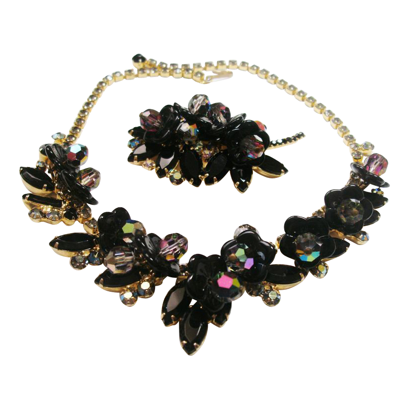 Vintage Verified D&E Juliana Black Brooch & Necklace