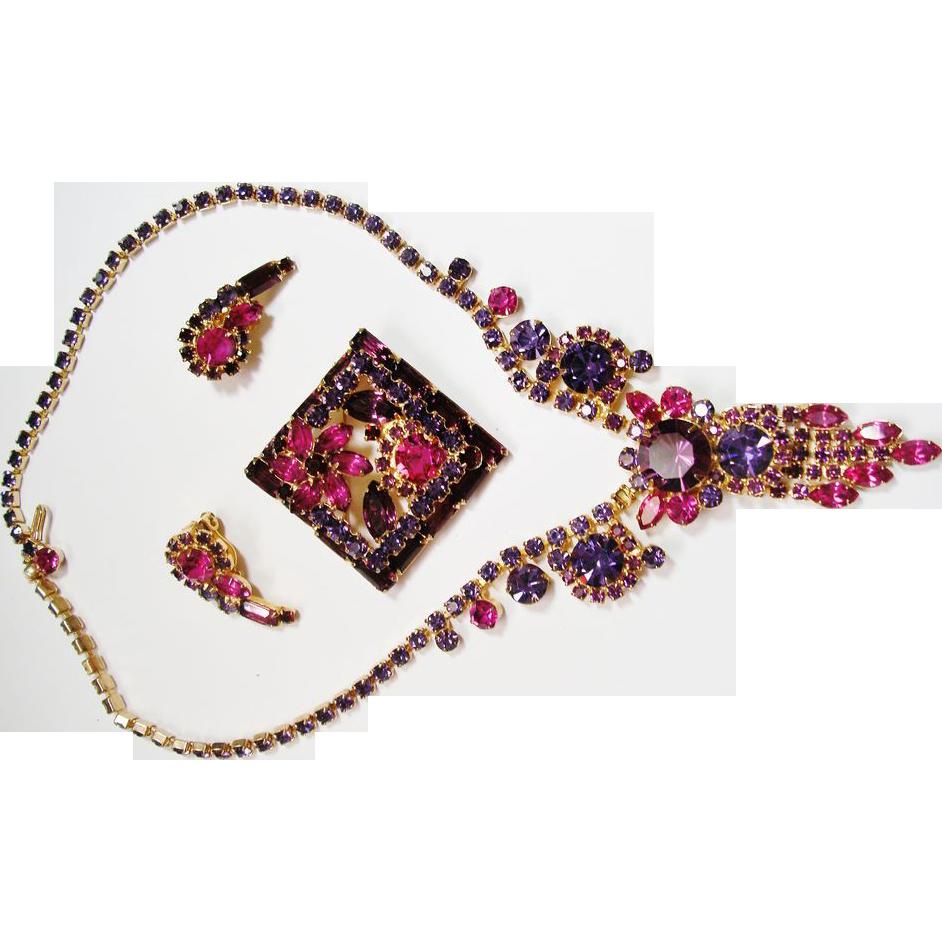 Verified D&E Juliana Purple & Fuchsia Rhinestone Parure