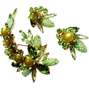 Verified D&E Juliana Peridot Green Brooch & Earrings