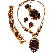Verified D&E Juliana Carved Cameo Topaz Color Rhinestone Parure