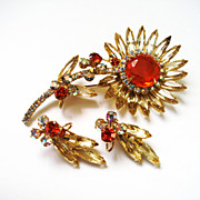 Vintage D&E Juliana Yellow Sunflower Brooch & Earrings