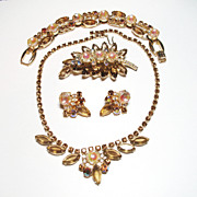 Confirmed D&E Juliana Topaz & Molded Glass Rhinestone Full Parure