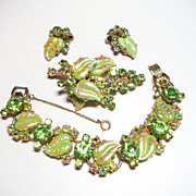D&E Juliana Verified Green Peridot Aurora Borealis Bracelet Brooch & Earrings