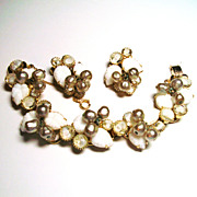 Verified D&E Juliana Molded Leaf Rhinestone Bracelet & Earrings