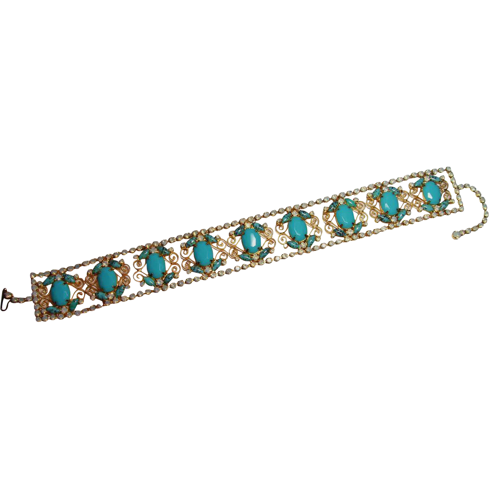 Vintage D&E Juliana  Glass Rhinestone Turquoise Dog Collar