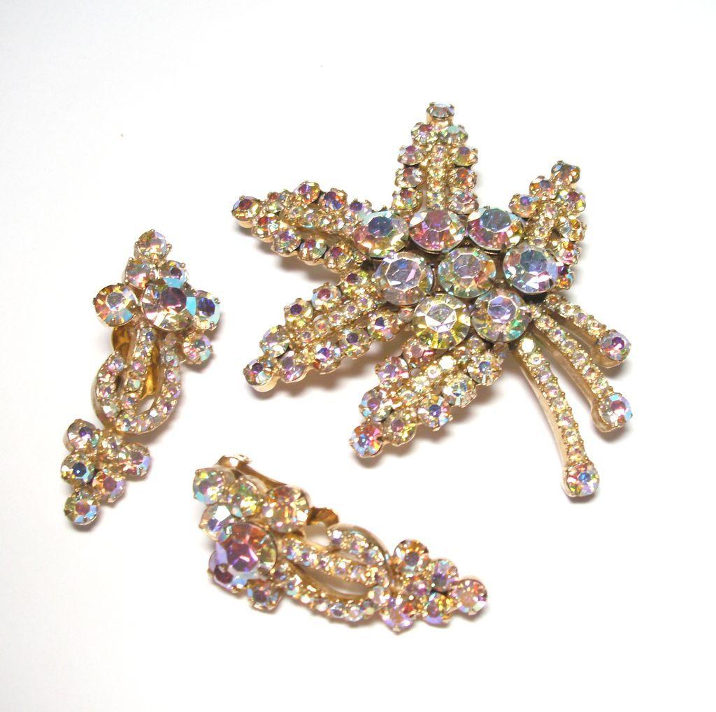 D&E Juliana Aurora Borealis Rhinestone Brooch & Earrings