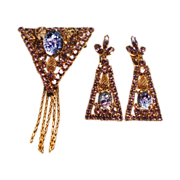 D&E Juliana Lilac Art Glass Brooch & Earrings