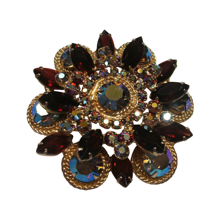 Vintage D&E Juliana Red & AB Rhinestone Brooch