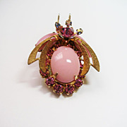Confirmed D&E Juliana Pink Rhinestone Beetle Brooch