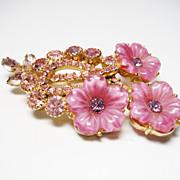Verified D&E Juliana Pink Molded Glass Brooch