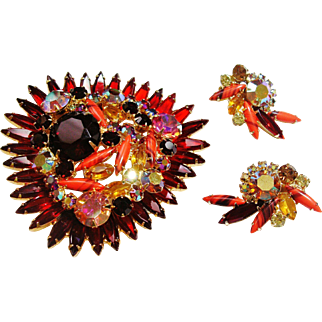 Verified D&E Juliana Red Rhinestone Brooch & Earrings