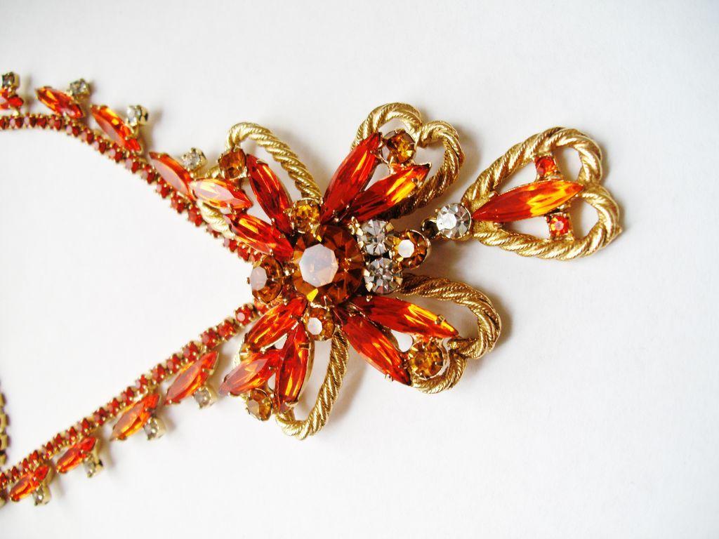 Vintage Juliana Sunset Orange Twisted Wire Necklace
