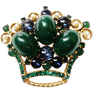 Verified D&E Juliana Green Cabochon Crown Brooch