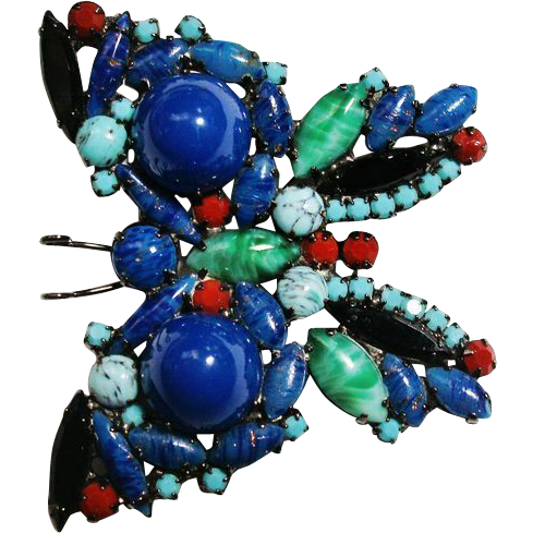 Verified D&E Juliana High Dome Glass Stone Butterfly Brooch