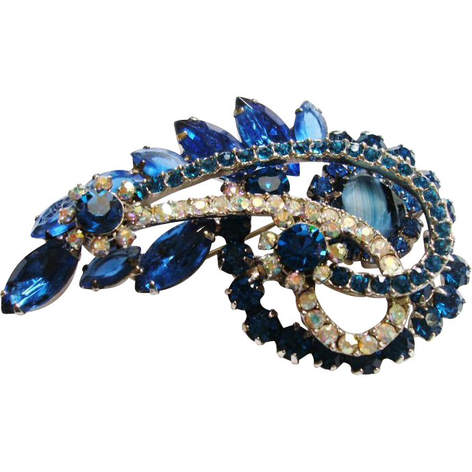 D&E Juliana Paisley Style Slag Glass Brooch