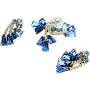 D&E Juliana Blue Keystone Brooch & Earrings