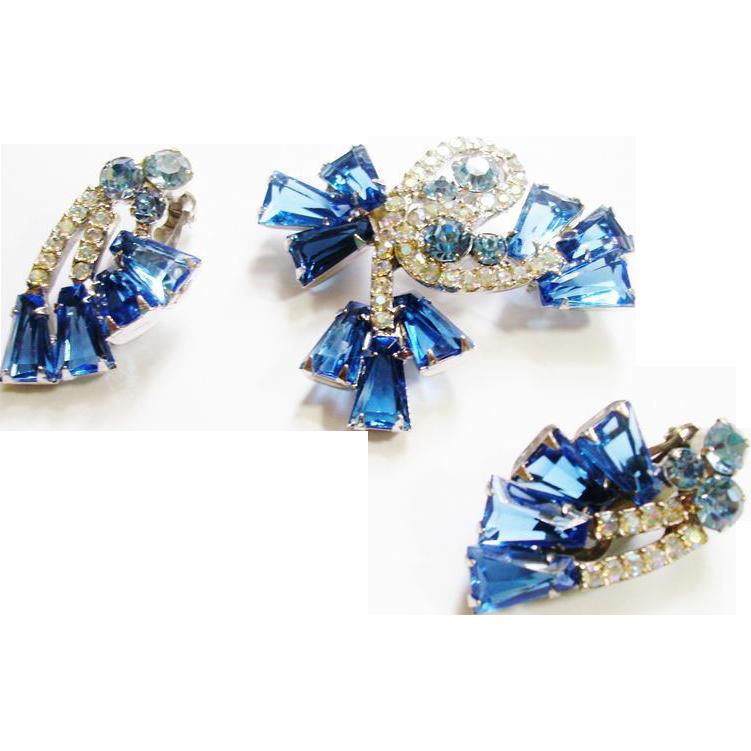 D&E Juliana Blue Keystone Brooch & Earrings