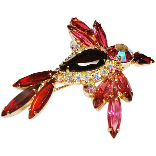 Verified D&E Juliana Red Rhinestone  Flying Bird Brooch