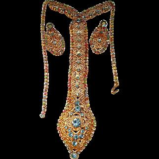 D&E Juliana Pastel color Rhinestone Necktie Necklace & Drop Earrings