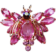 Verified D&E Juliana Pink Rhinestone Moth Brooch