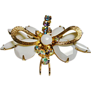 D&E Juliana Chalk White Rhinestone Moth Brooch